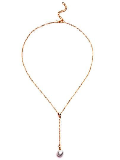 Collier forme en Y avec pendentif perle - doré