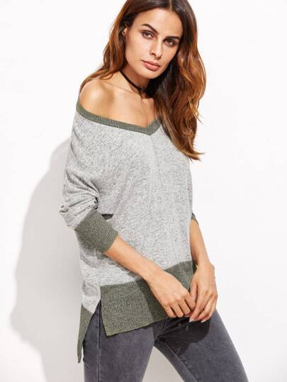 Contrast Trim Slit Side High Low Sweater