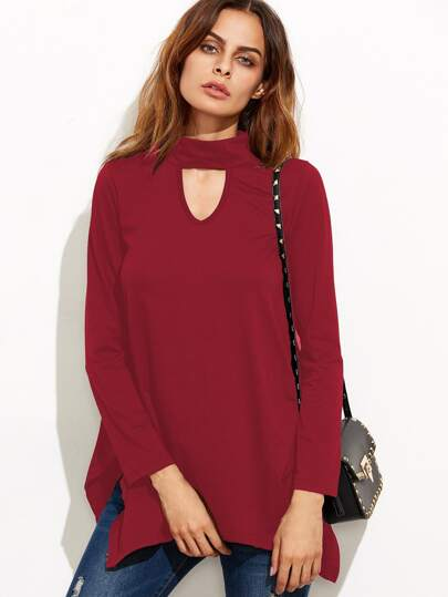 Red Cut Out Asymmetrical Swing T-shirt