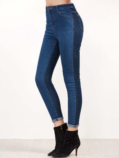 Contrast Skinny Denim Jeans