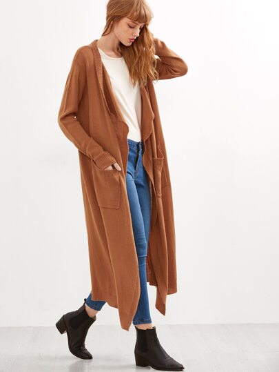 Coffee Open Front Ribbed Trim Long Cardigan With Pockets