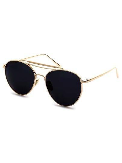 Gold Frame Triple Bridge Retro Style Sunglasses
