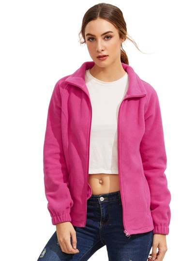 Hot Pink alto collo Zipper Cappotti