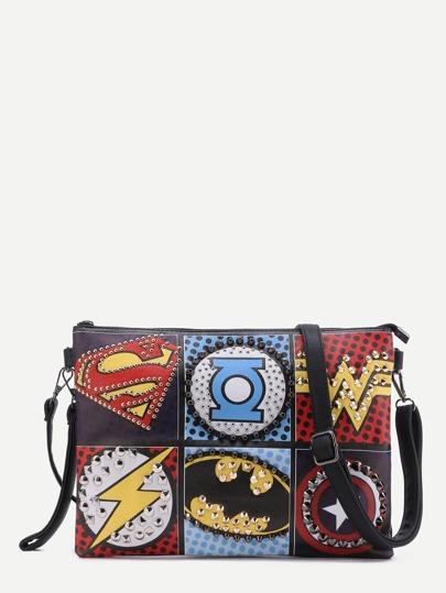 Multicolor Logo Print Studded Crossbody Bag