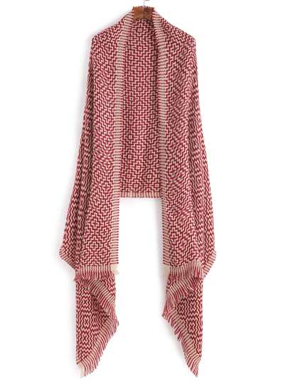 Red Chinese Knot Knitting Pattern Scarf