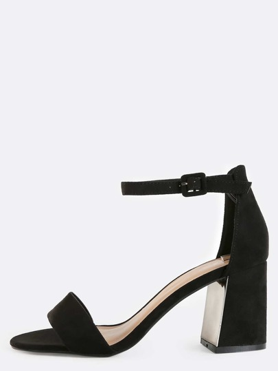 Reflective Heel Single Strap Heels BLACK