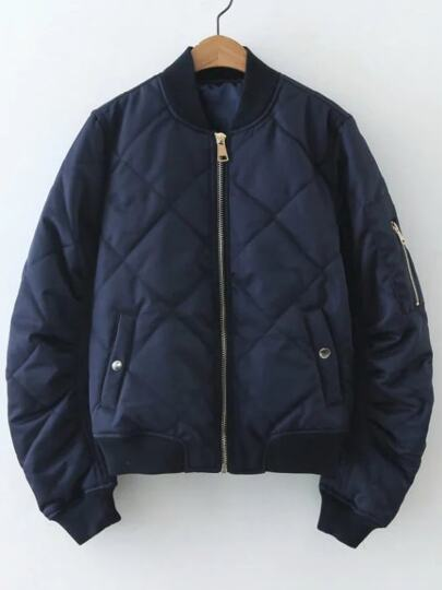 Navy Diamond Pattern Quilted Jacket