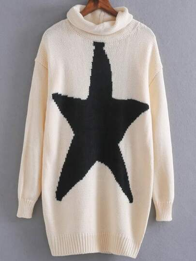 Beige Cowl Neck Star Pattern Long Sweater
