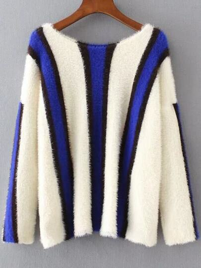 Striped Color Block Drop Shoulder Sweater
