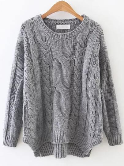 Grey Cable Knit Asymmetrical Hem Sweater