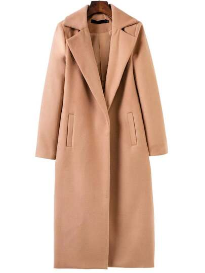 Khaki Lapel Neck Pocket Long Coat