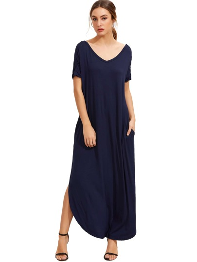 Navy Short Sleeve Pocket Split Side Dress