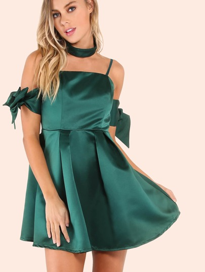 Strapless Bardot Arm Tie Mini Satin Choker Dress HUNTER GREEN