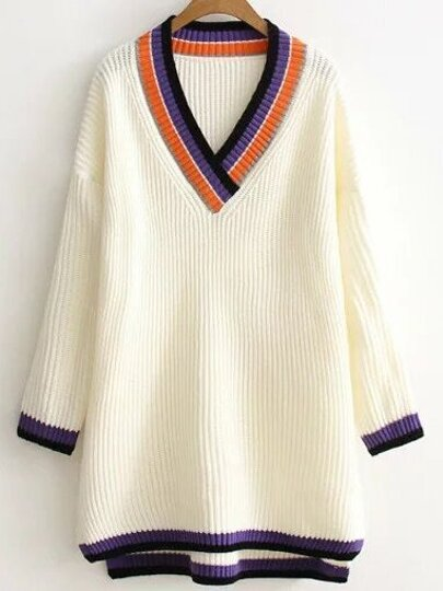 White Color Block V Neck High Low Long Sweater