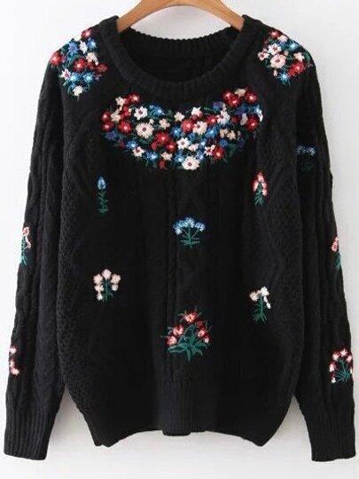 Black Floral Embroidery Raglan Sleeve Sweater