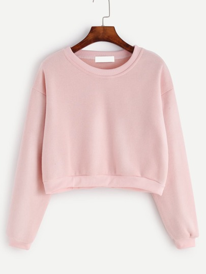 Pink Round Neck Crop Sweatshirt