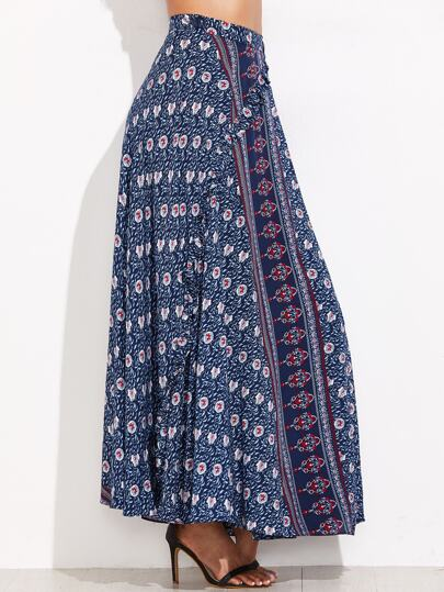 Blue Tribal Print High Waist Skirt With Button