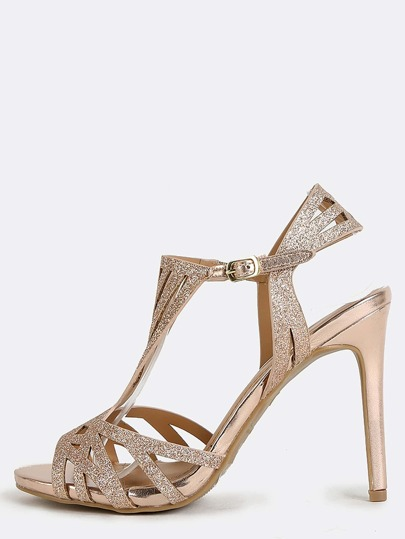 Glitter Geometric Cut Out Heels ROSE GOLD