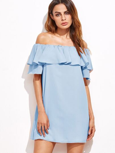 Blue Off The Shoulder Ruffle Dress