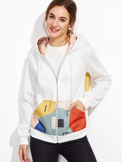 White Printed Drawstring Hooded Sweatshirt