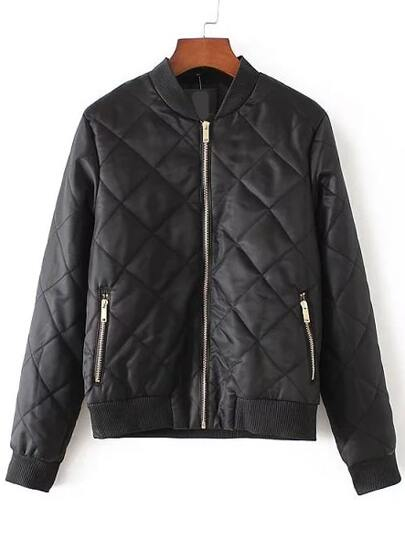 Black Diamond Quilted Zipper Up Flight Jacket