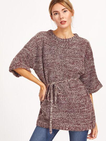 Burgundy Marled Knit Half Sleeve Sweater