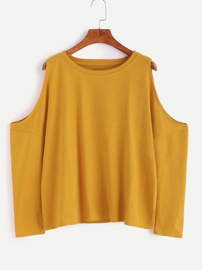 Yellow Open Shoulder Loose T-shirt