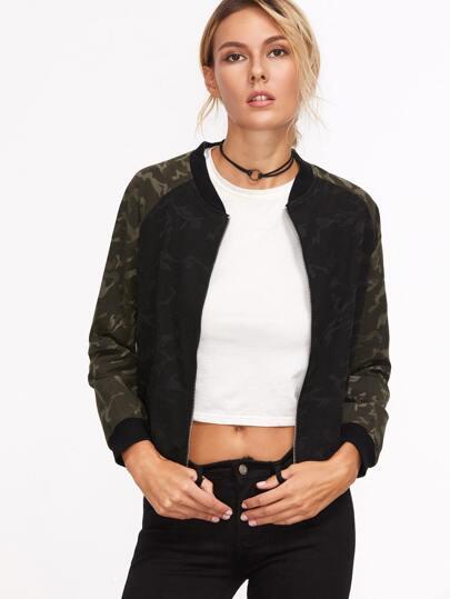 Contrast Raglan Sleeve Camo Print Jacket