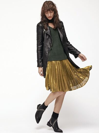 Yellow Pleated A Line Midi Skirt