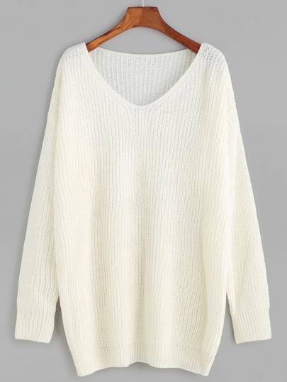 Pullover V-Ausschnitt Drop Schulter-weiß