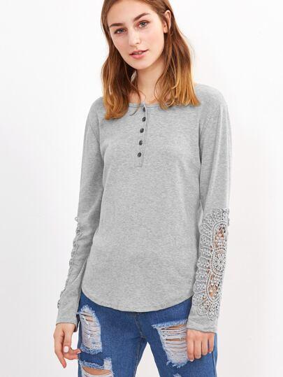 Grey Contrast Crochet Trim T-shirt
