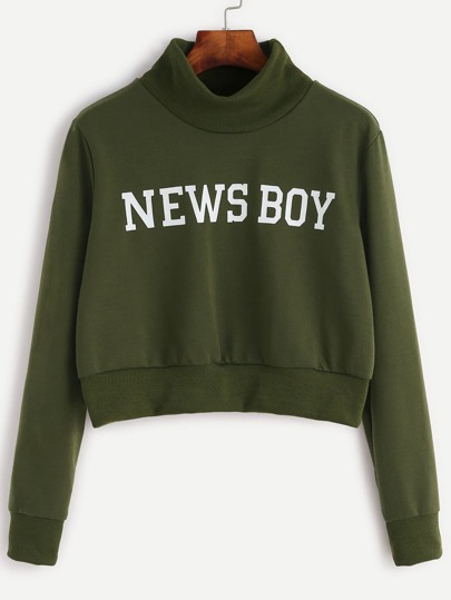 Army Green Letter Print Crop Sweatshirt