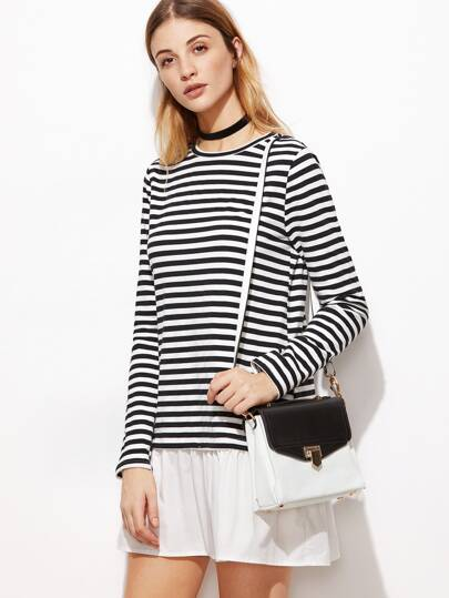 Black And White Striped Contrast Ruffle Hem Dress