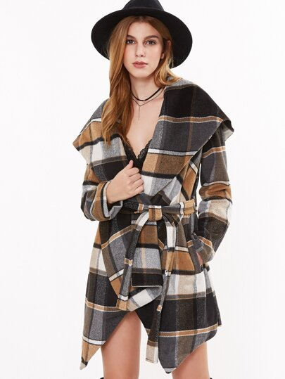 Tartan Plaid Oversized Drape Collar Wrap Coat