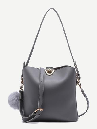 Grey PU Pom Pom Shoulder Bag With Convertible Strap