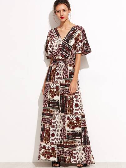 Tribal Print Split Side Maxi Dress