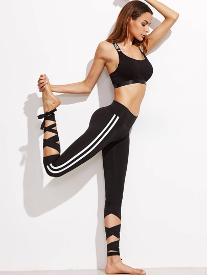 Black Striped Sideseam Crop Leggings With Lace Up Detail