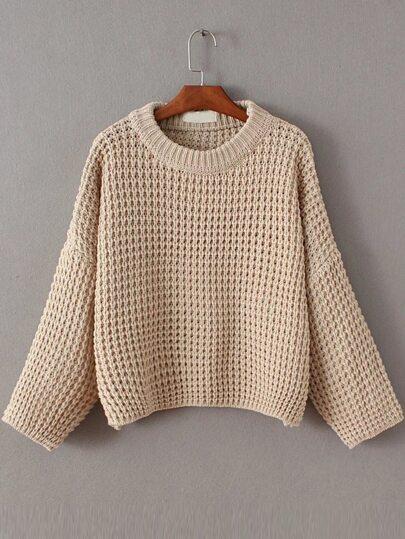 Pull tricoté en gaufre col rond - abricot