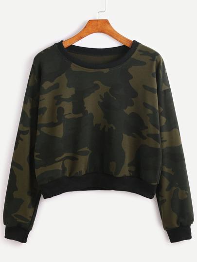 Sweat-shirt contrasté imprimé camouflage