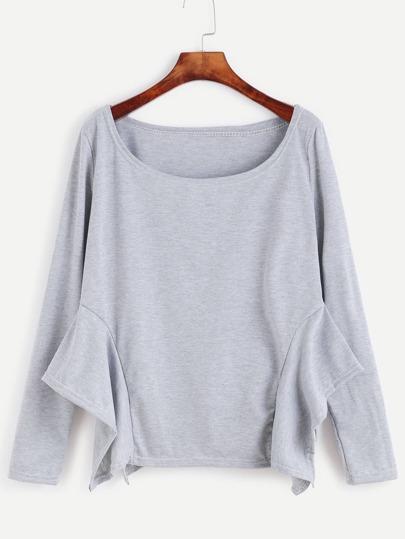 Pale Grey Asymmetric Hem T-shirt