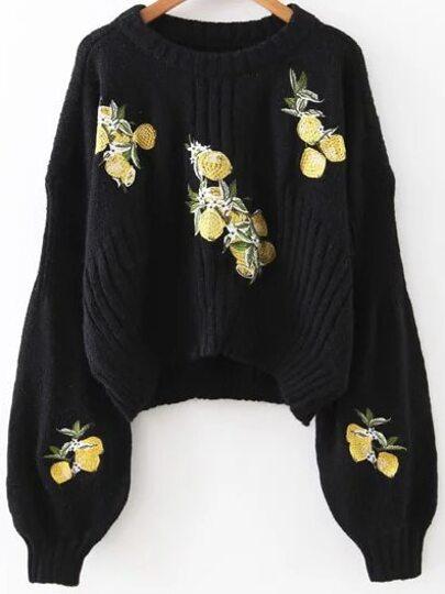Black Lemon Embroidery Lantern Sleeve Dip Hem Sweater