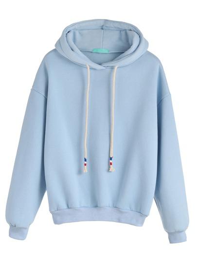 Pale Blue Drop Shoulder Drawstring Hooded Sweatshirt