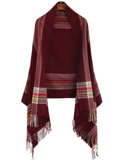 Red Tone Colored Stripe Long Fringe Shawl Scarf