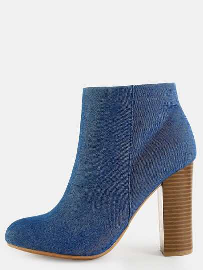 Denim Chunky Heel Ankle Boots DENIM
