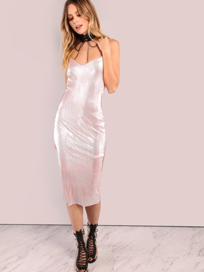 Pleated Metallic Bodycon Dress PINK
