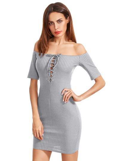 Bardot Lace Up Front Ribbed Bodycon Dress