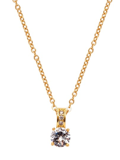 Gold Plated Rhinestone Pendant Necklace