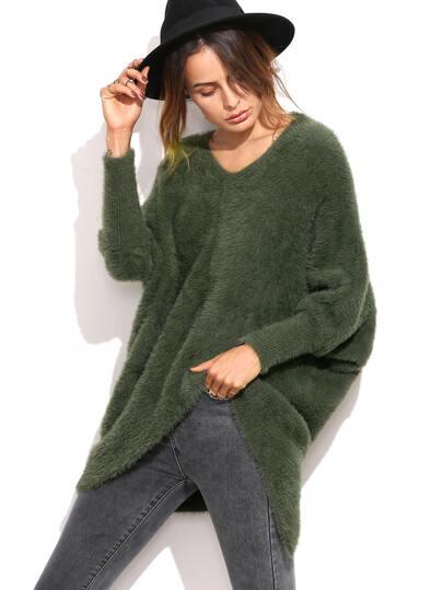 Olive Green Dolman Sleeve Asymmetric Fluffy Sweater