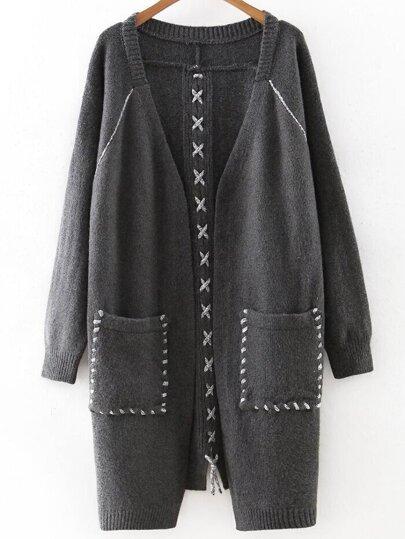 Dark Grey Lace Up Detail Pocket Long Sweater Coat