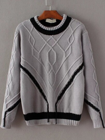 Grey Contrast Trim Round Neck Knitwear
